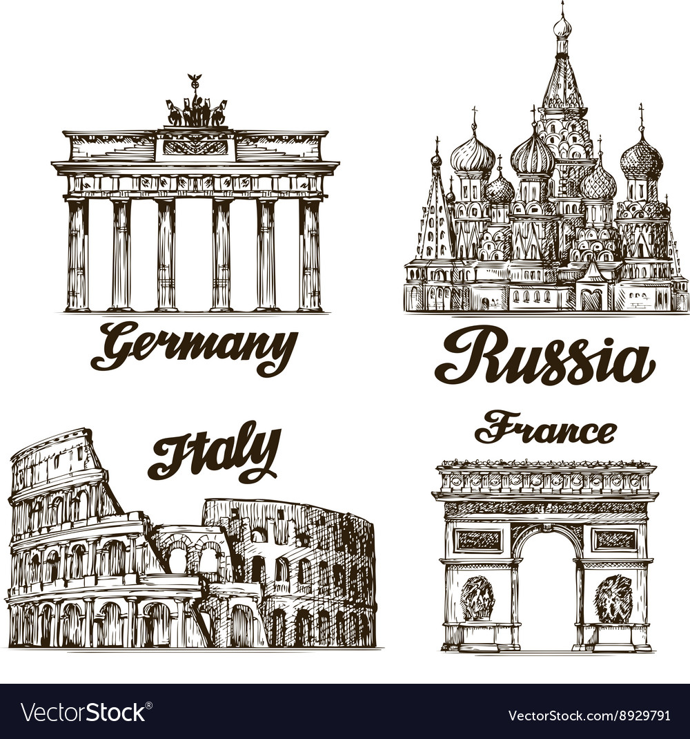 Travel Hand drawn sketch Berlin Moscow Rome