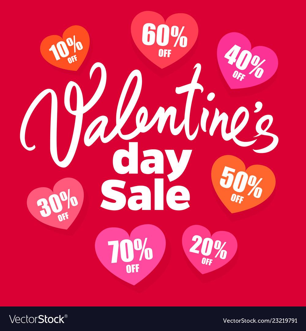 Valentines day sale poster handwritten lettering
