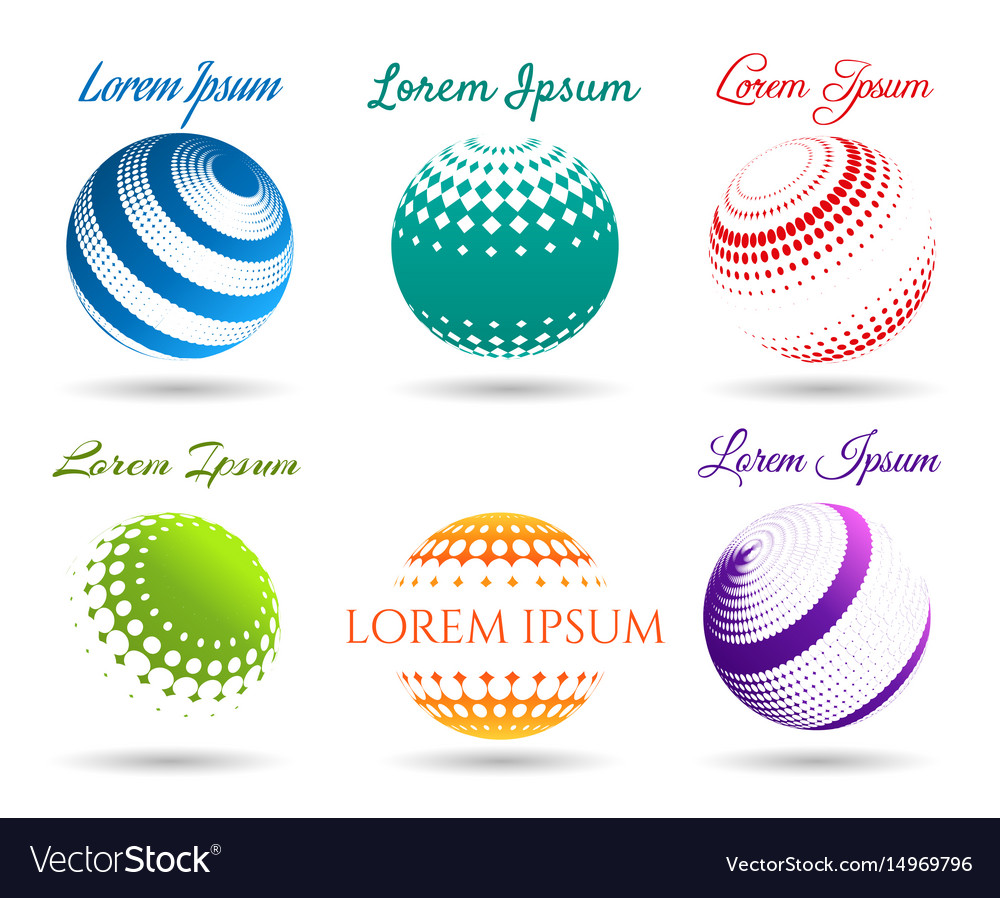 Abstract 3d dot spheres logo set