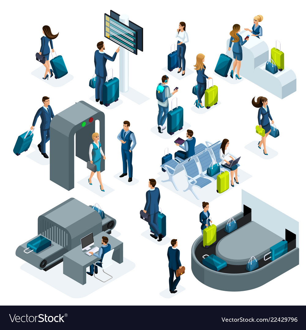 Airport isometric icons set of reception and passp