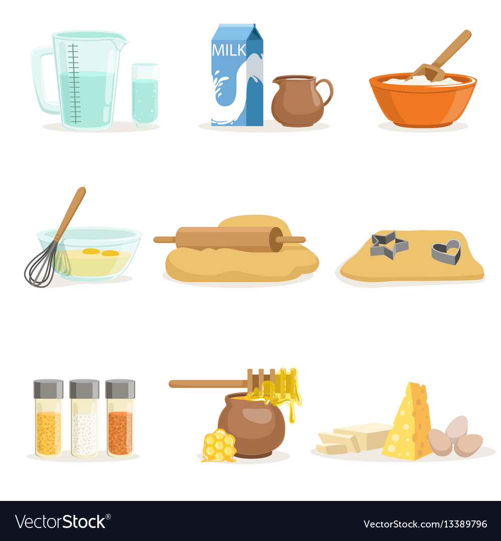 Baking ingredients and kitchen tools and utensils