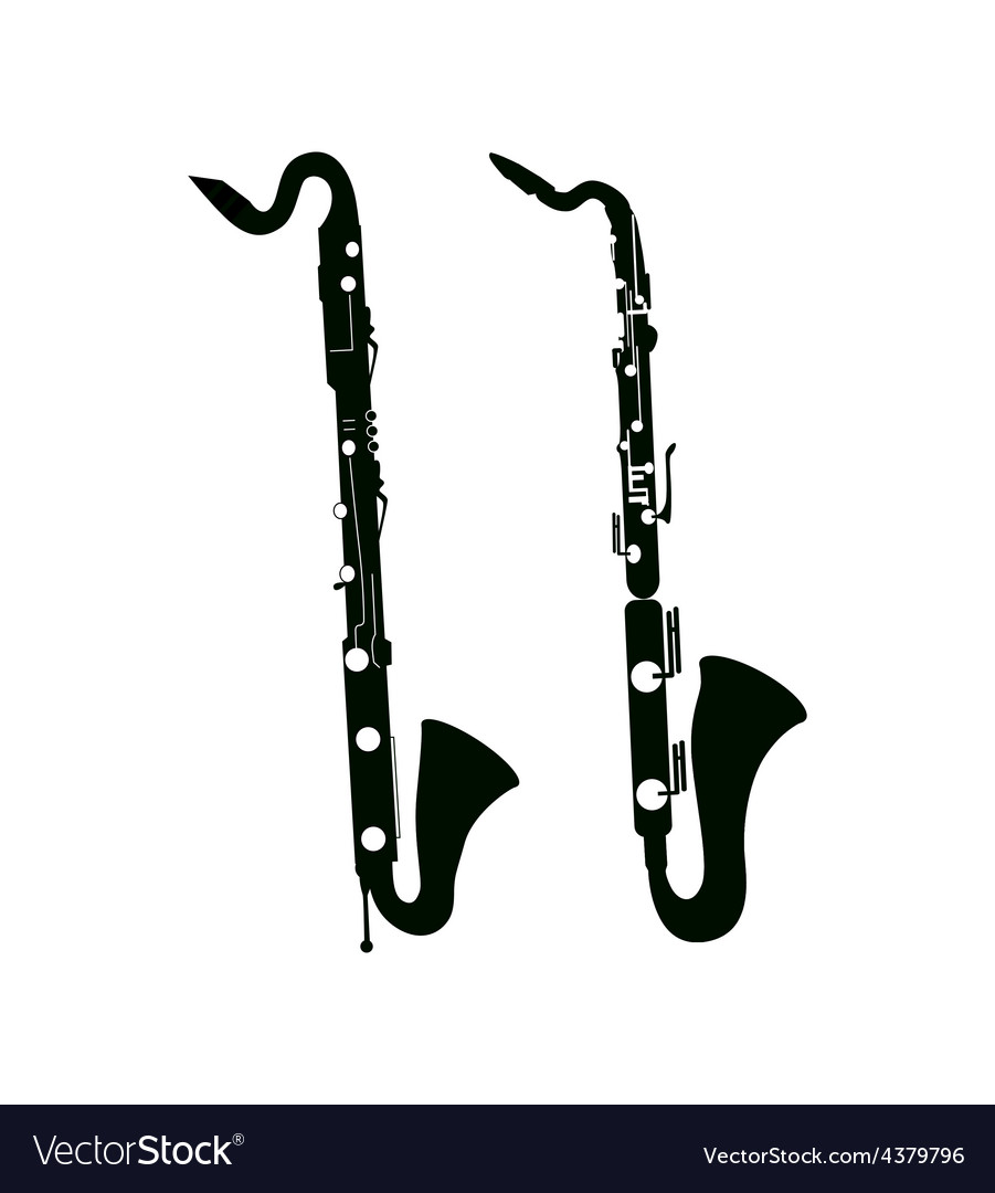 Bass Saxophone and Clarinet vector image