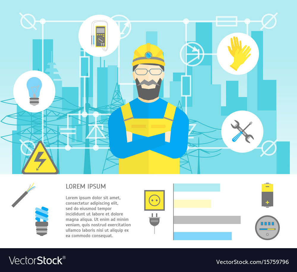 Cartoon professional electrician worker man and