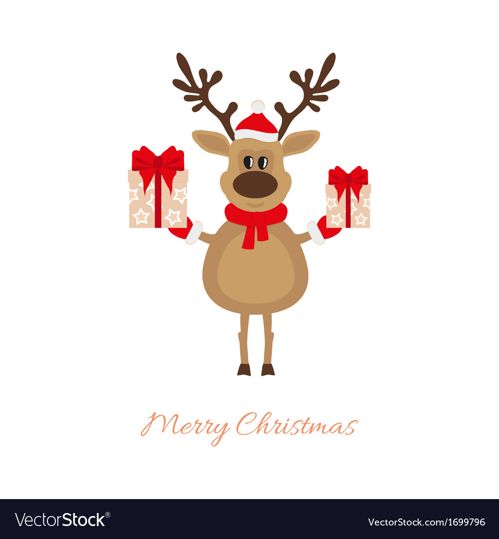 - Christmas Reindeer With Gifts Royalty Free Vector Image