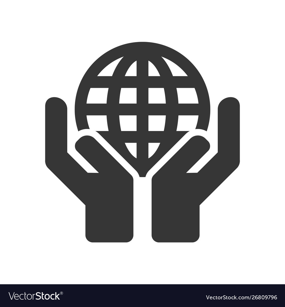 Hands holding earth globe icon on white background