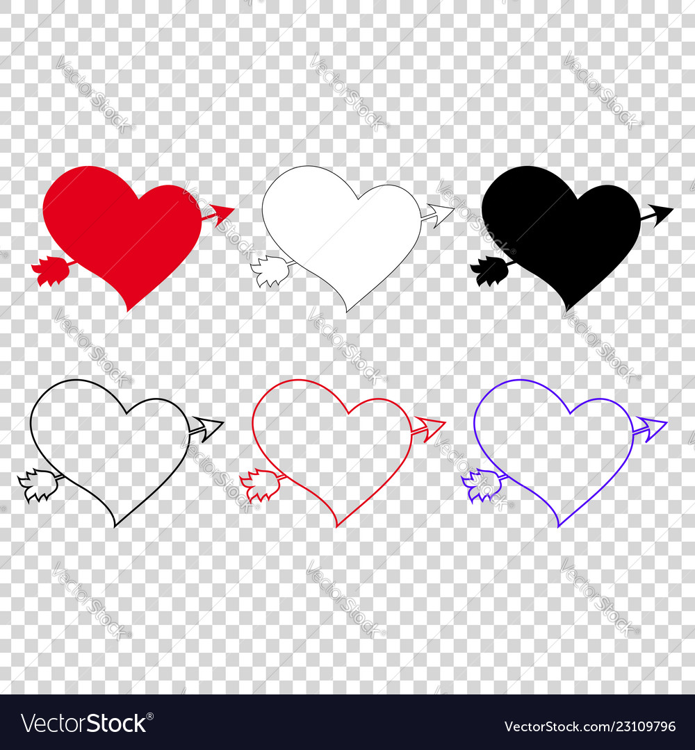 Icon set of different hearts pierced with arrow