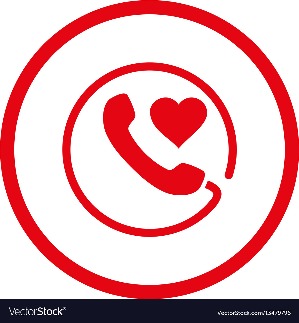 Love Phone Rounded Icon Royalty Free Vector Image