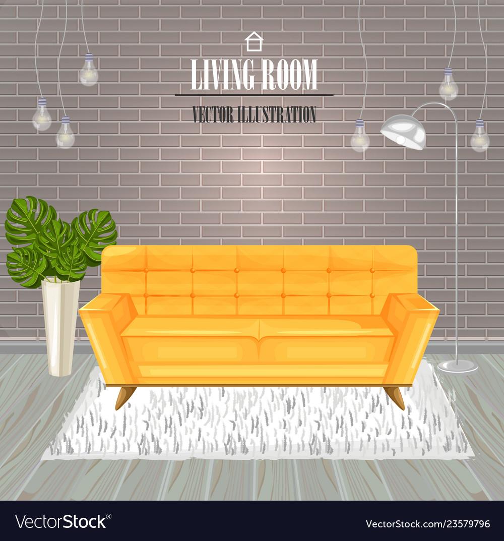 Modern living room yellow sofa watercolor