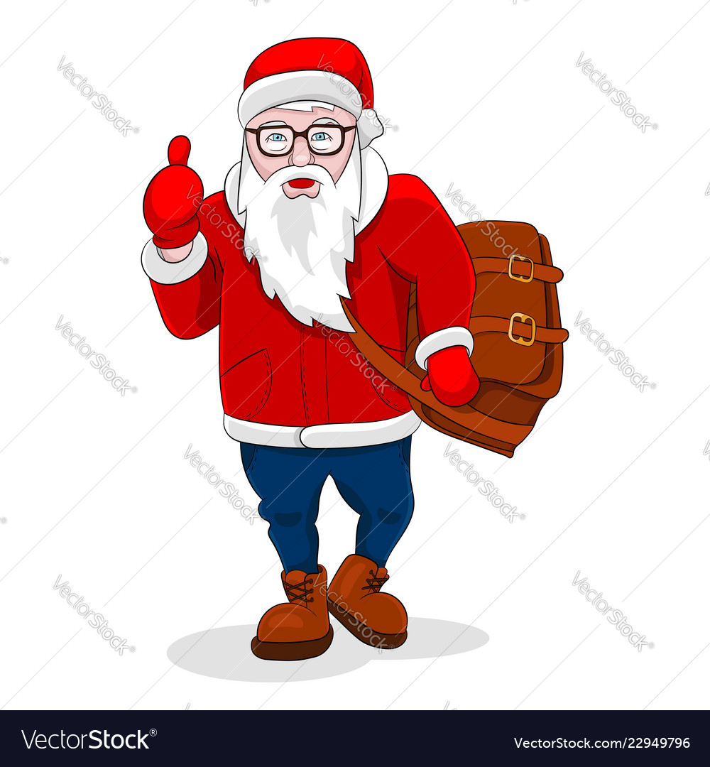 Modern santa claus come walk and show thumb up