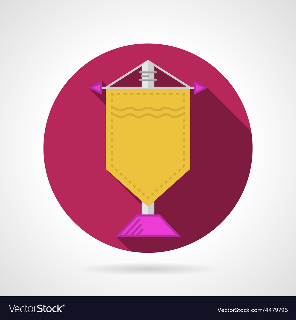Pink flat icon for yellow pennant vector image