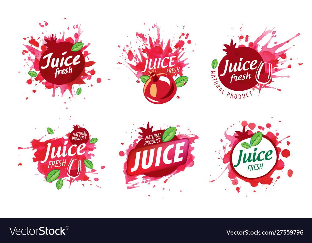 Set logos splashing pomegranate juice on