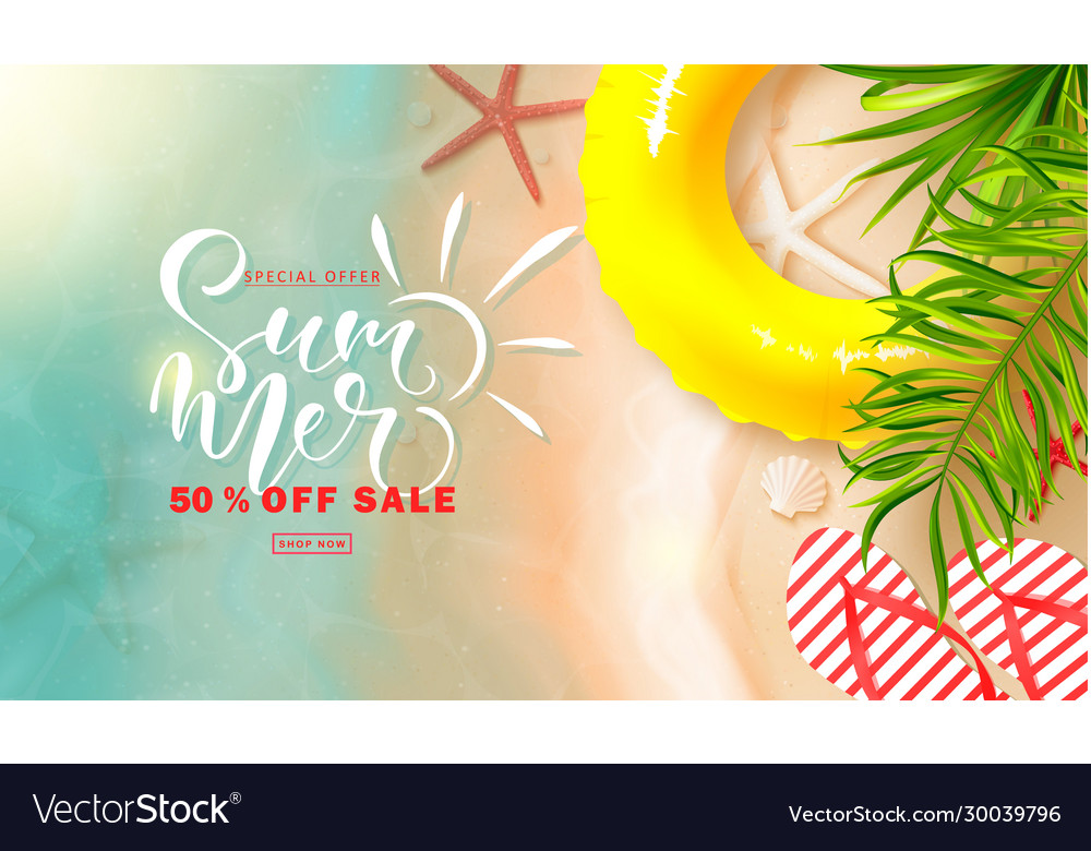 Summer sale bannerbackground with sea water