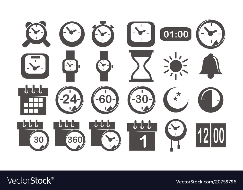 Time and watch icon set