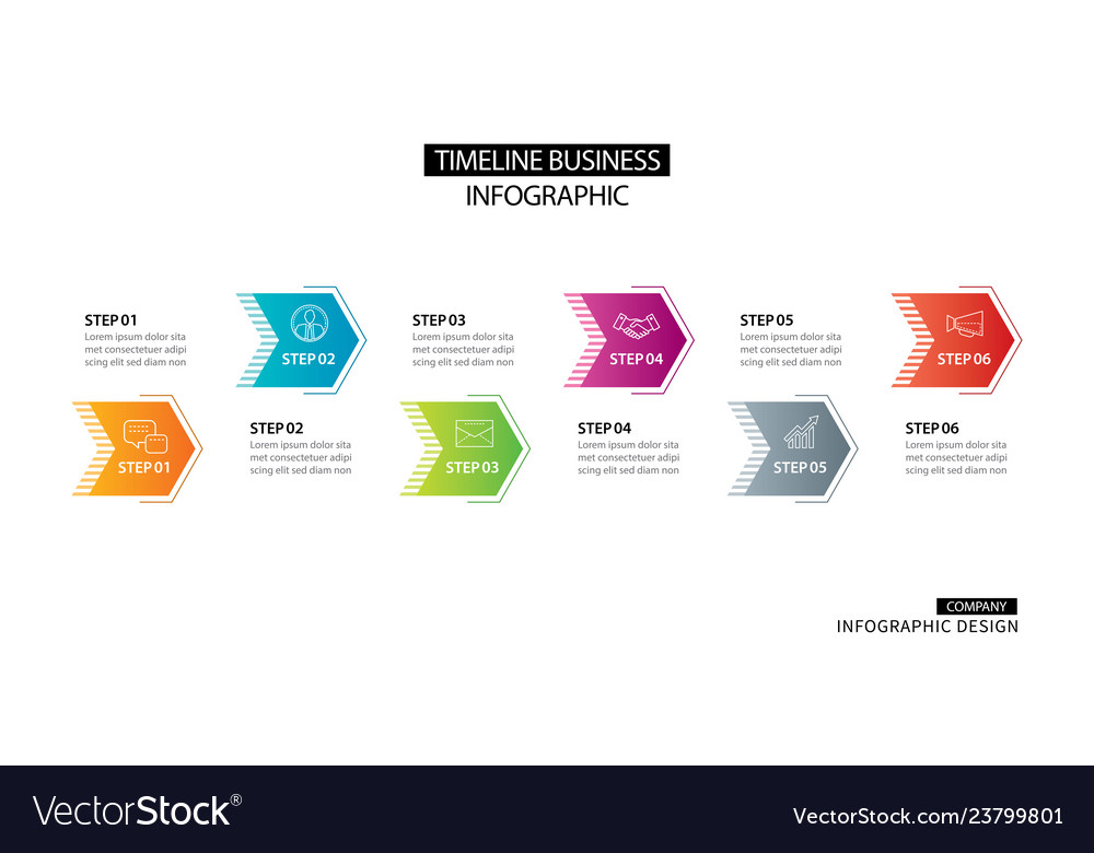 6 arrow infographic with abstract template