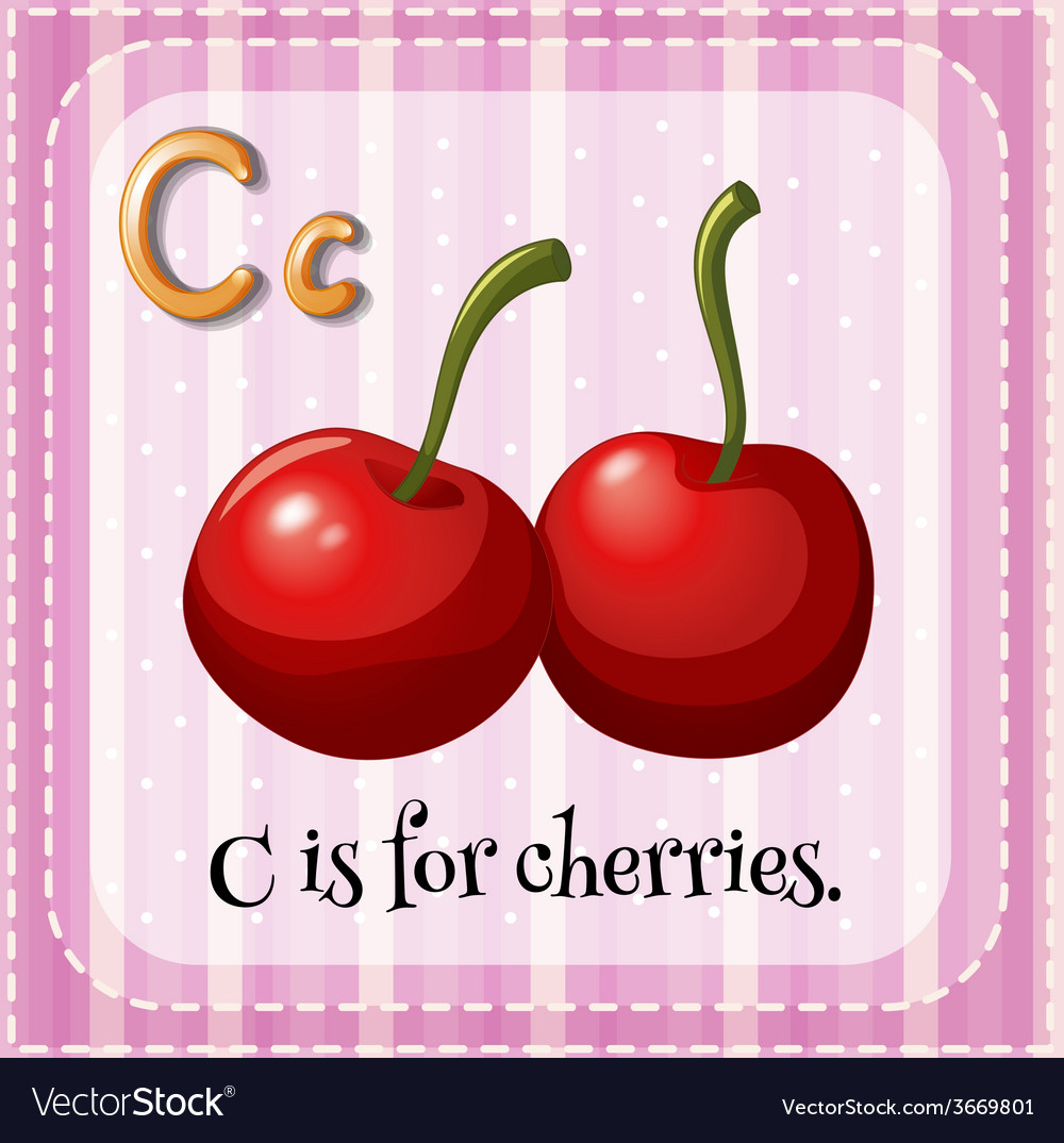 A letter C for cherries Royalty Free Vector Image