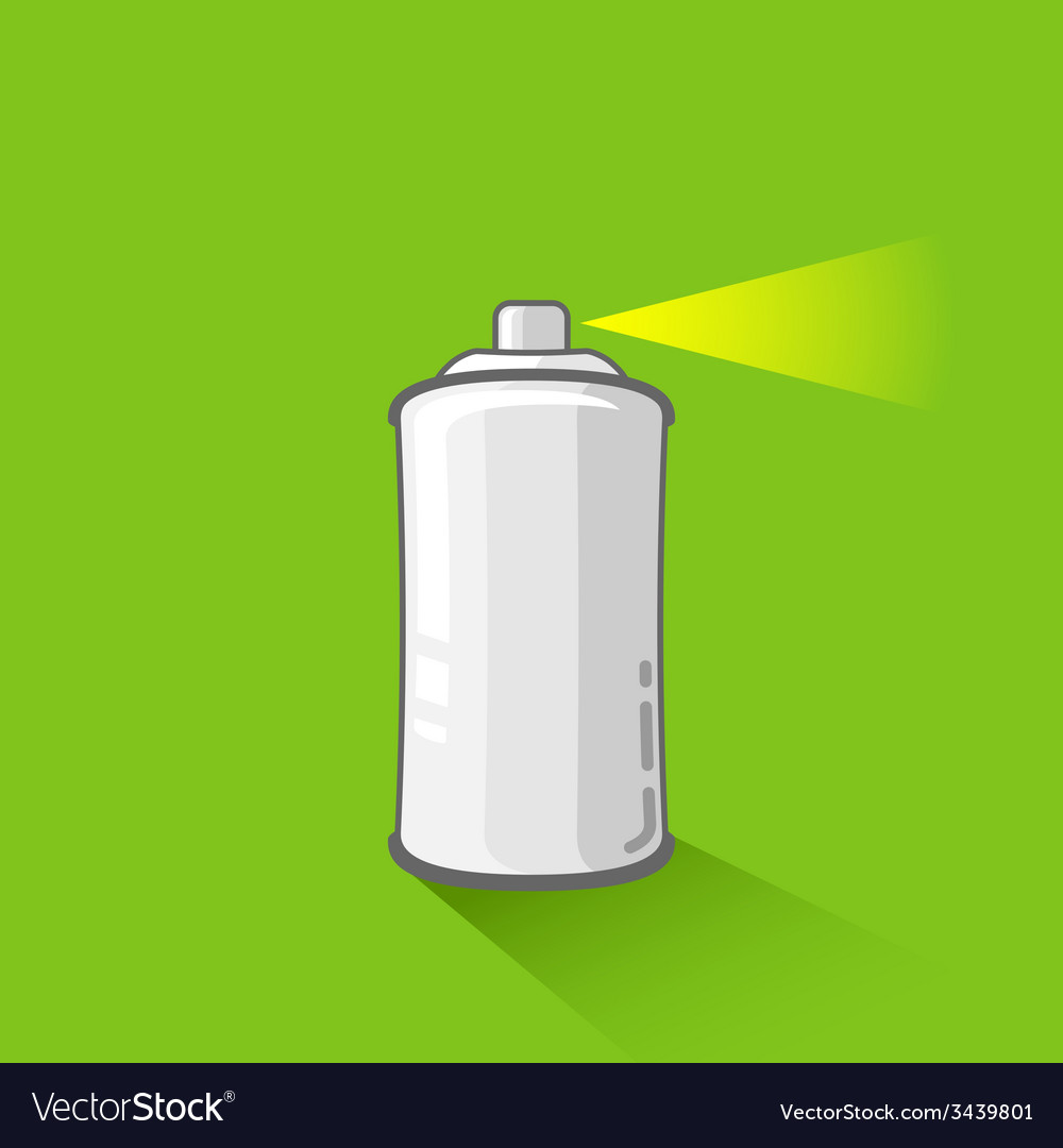 Aluminum spray can on green background aerosol