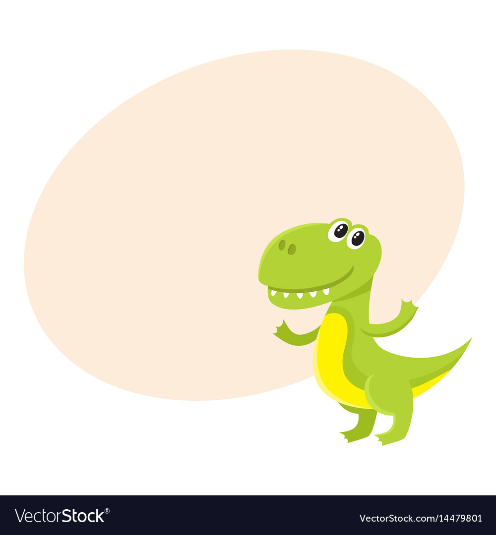 Cute and funny smiling baby tyrannosaurus