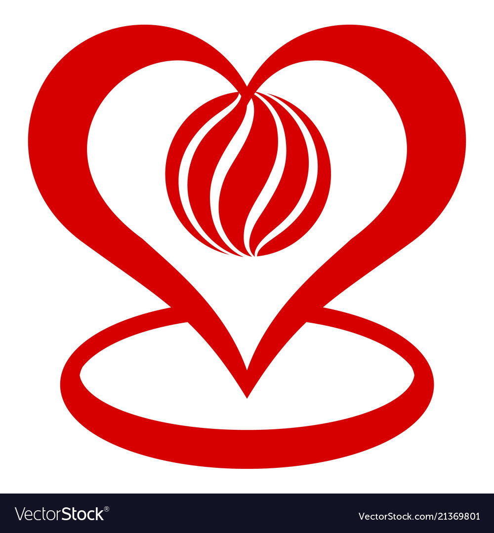 Global heart icon simple style