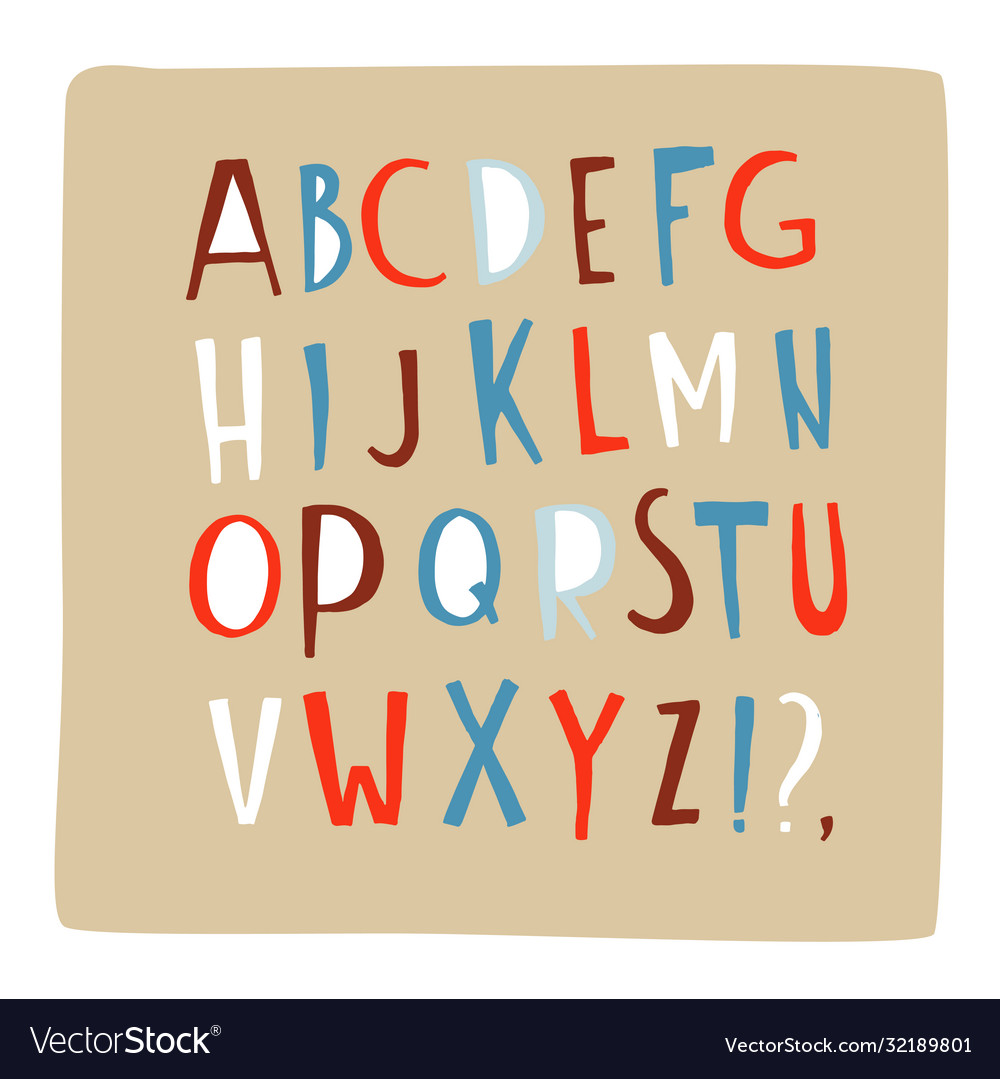 Hand drawn doodle font alphabet letters abc upper