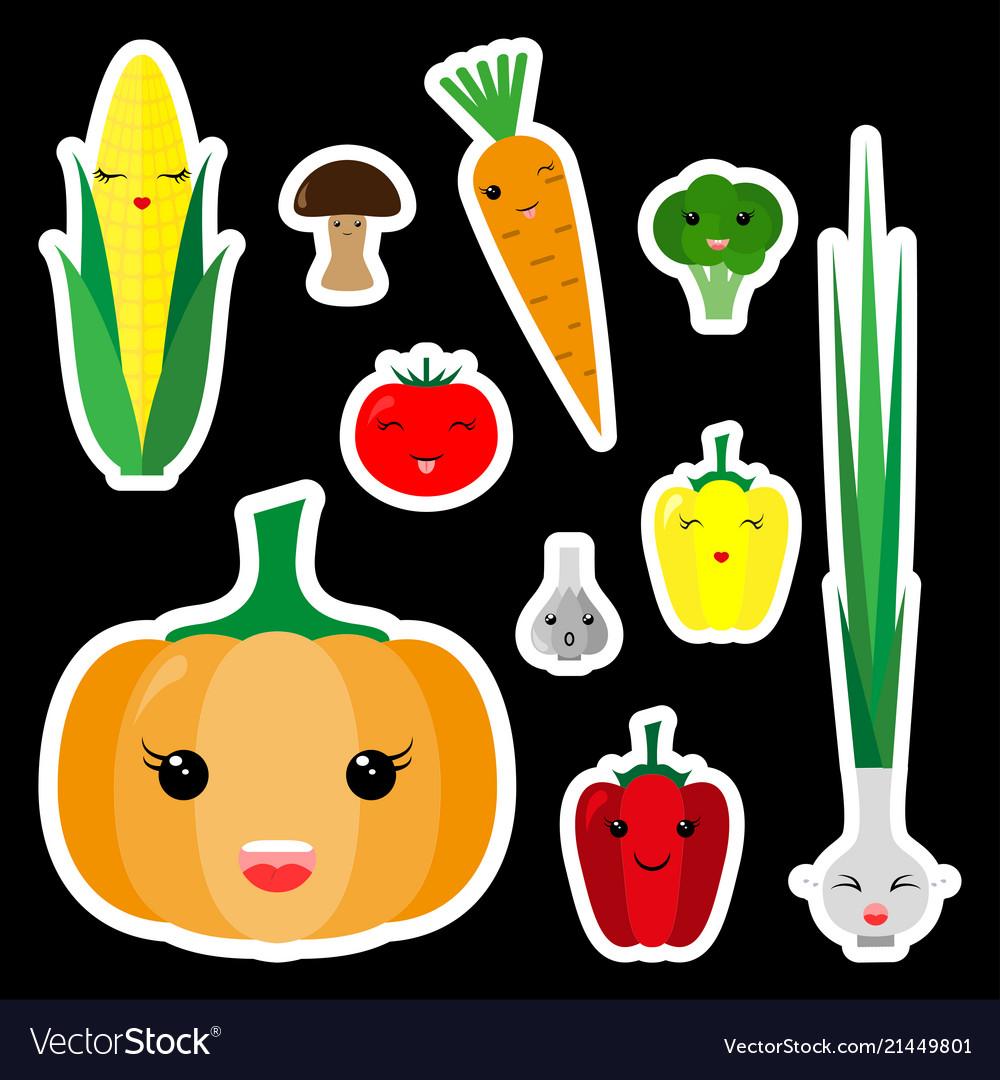Kawaii vegetables sticker set icon flat