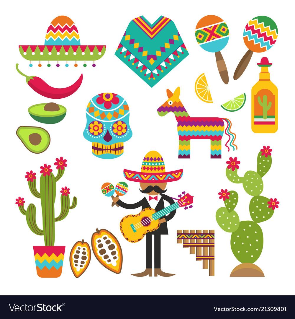 Mexican symbols design template of