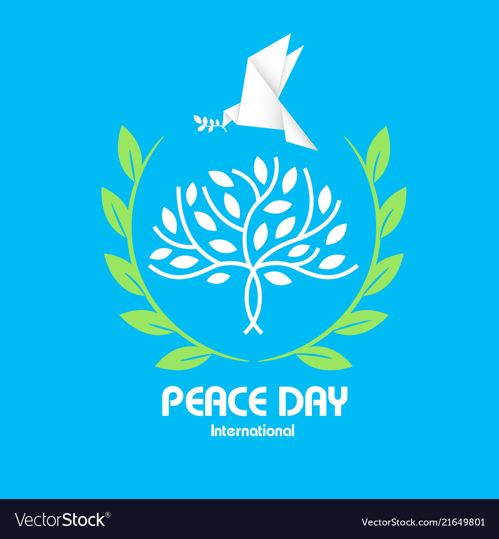 Peace day tree origami dove bird olive branch vect