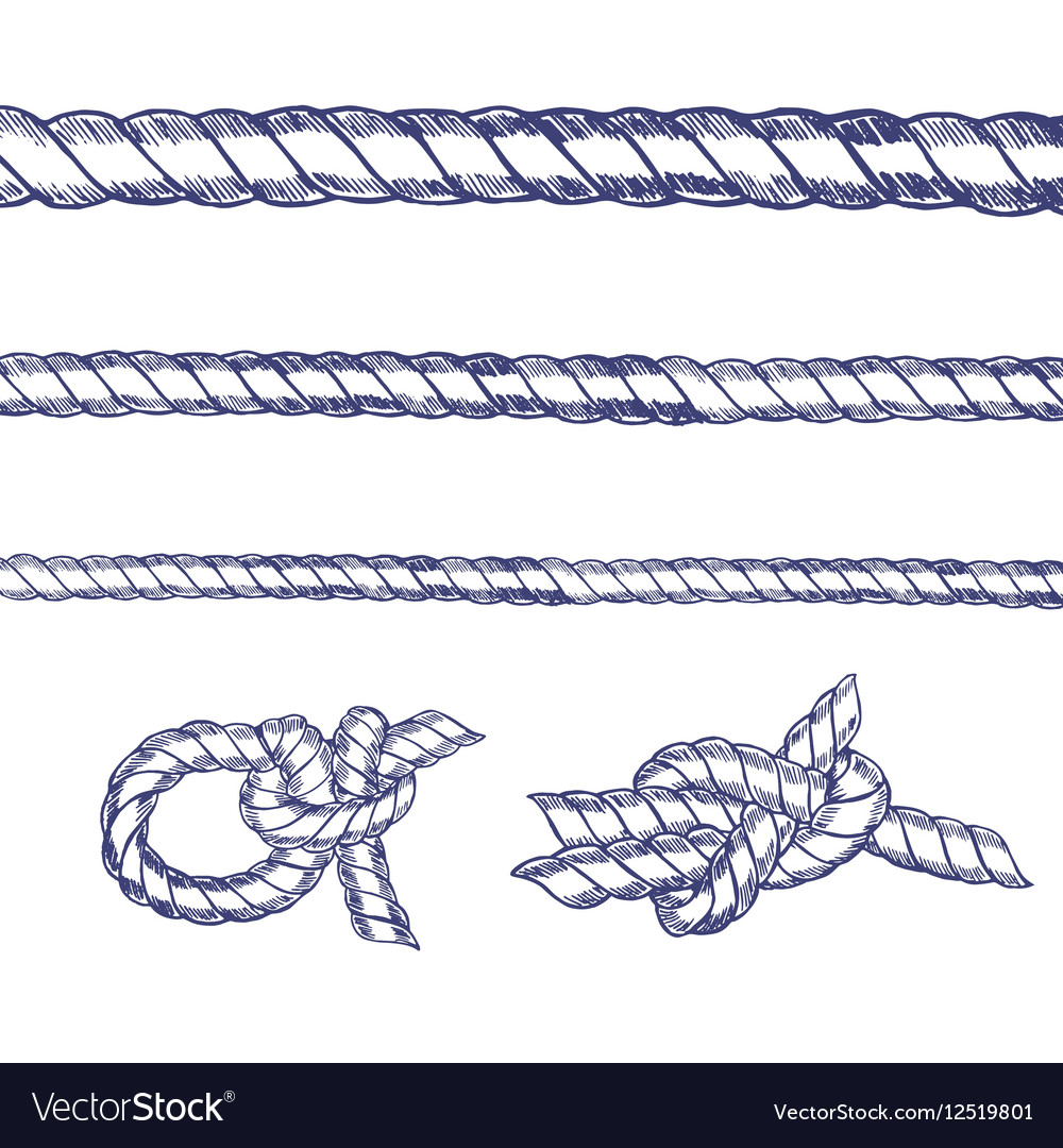 Sea Knot Rope Set Hand Draw Sketch