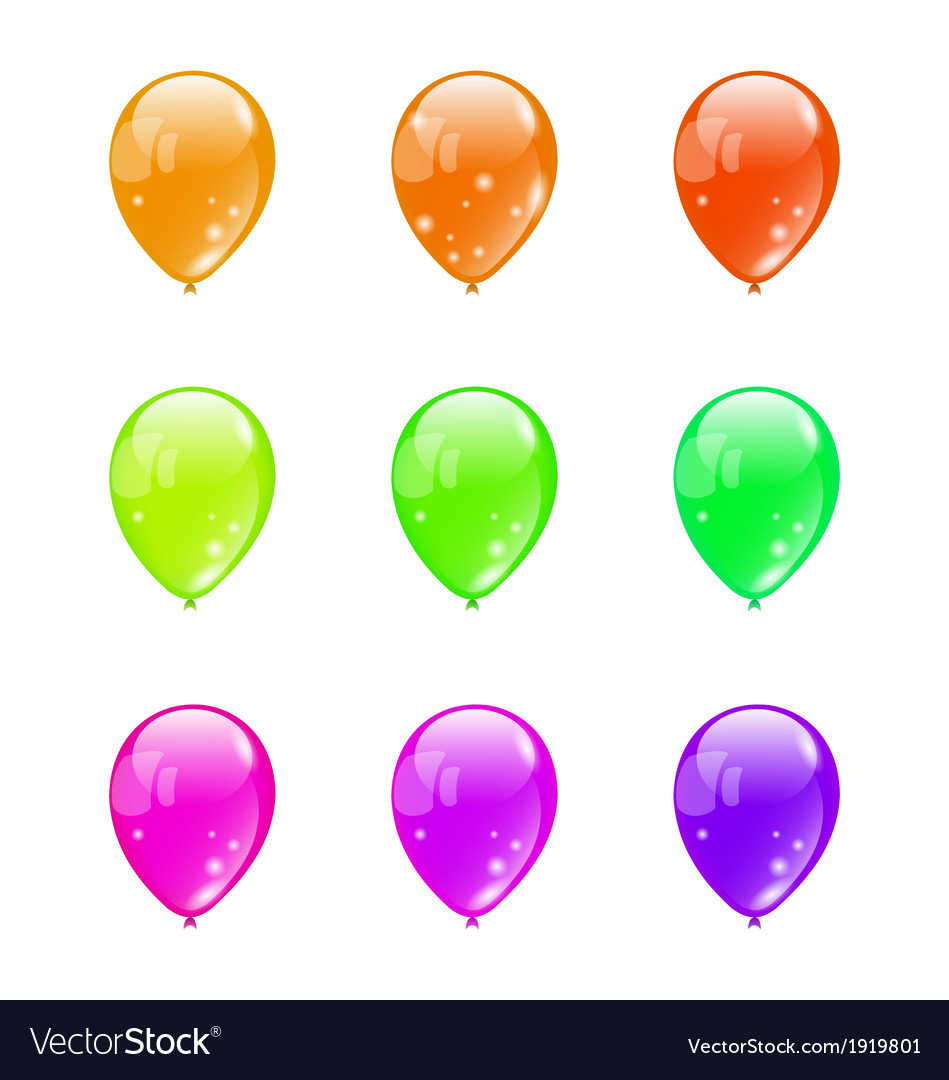 Set colorful balloons isolated on white background