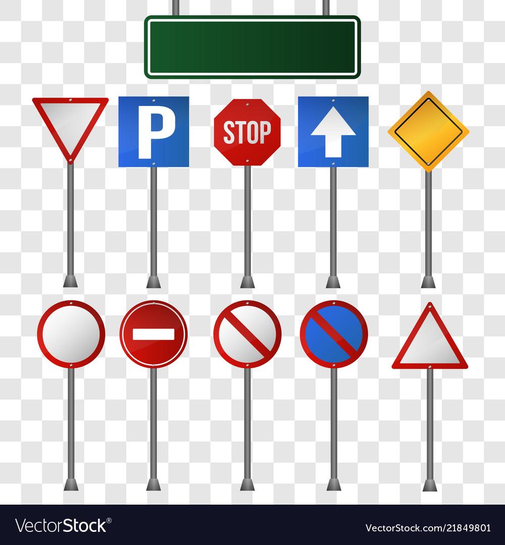 Set of road signs on transparent background