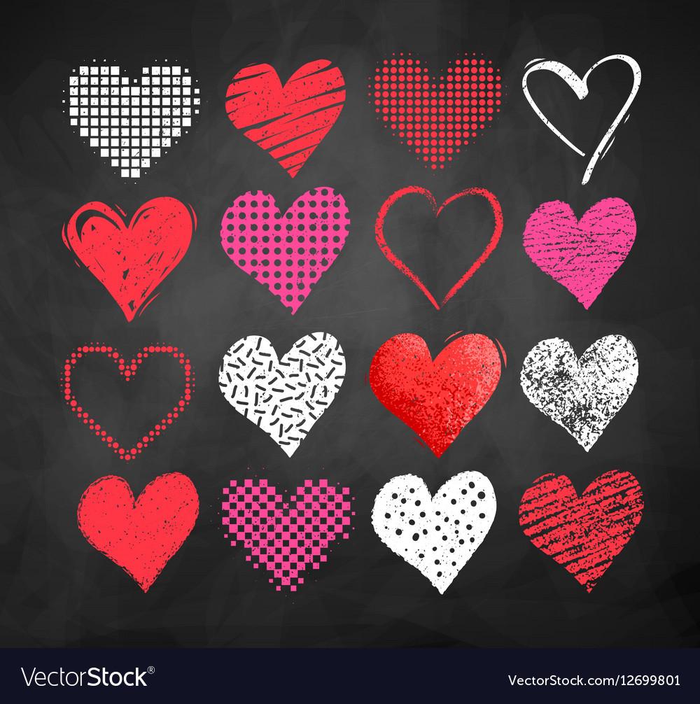 Valentine hearts on blackboard background vector image