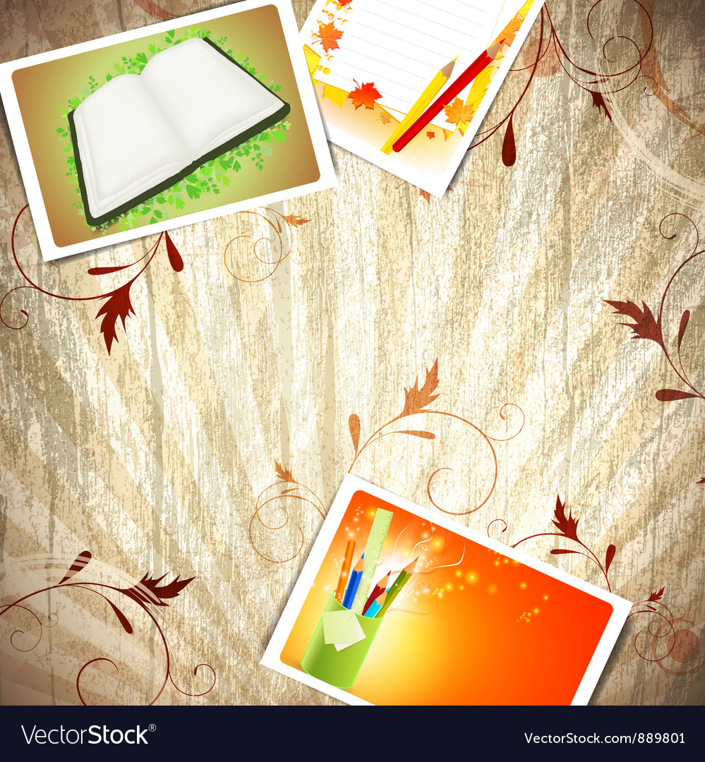 Vintage wooden education background vector image