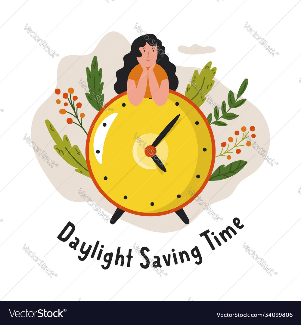 Daylight saving time abstract design with clock
