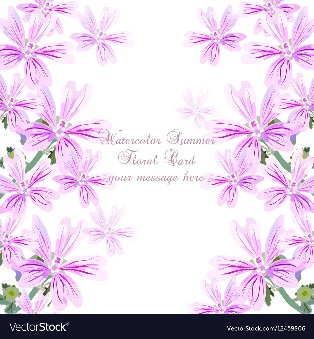 Delicate Pink Flowers Card Royalty Free Vector Image
