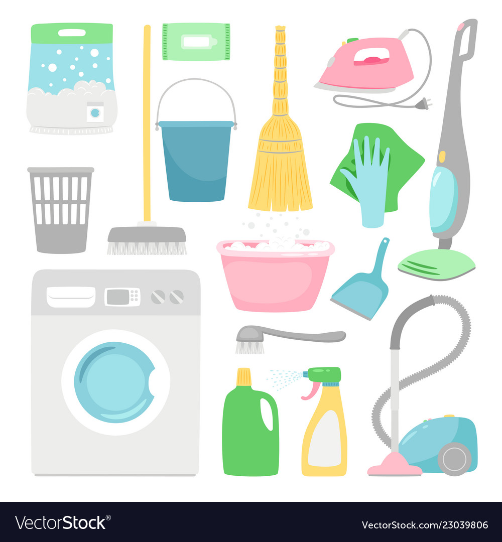 Household cleaning house clean inventory isolated