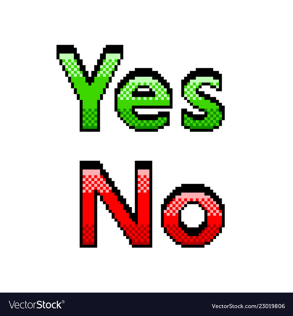 Pixel yes no text detailed isolated