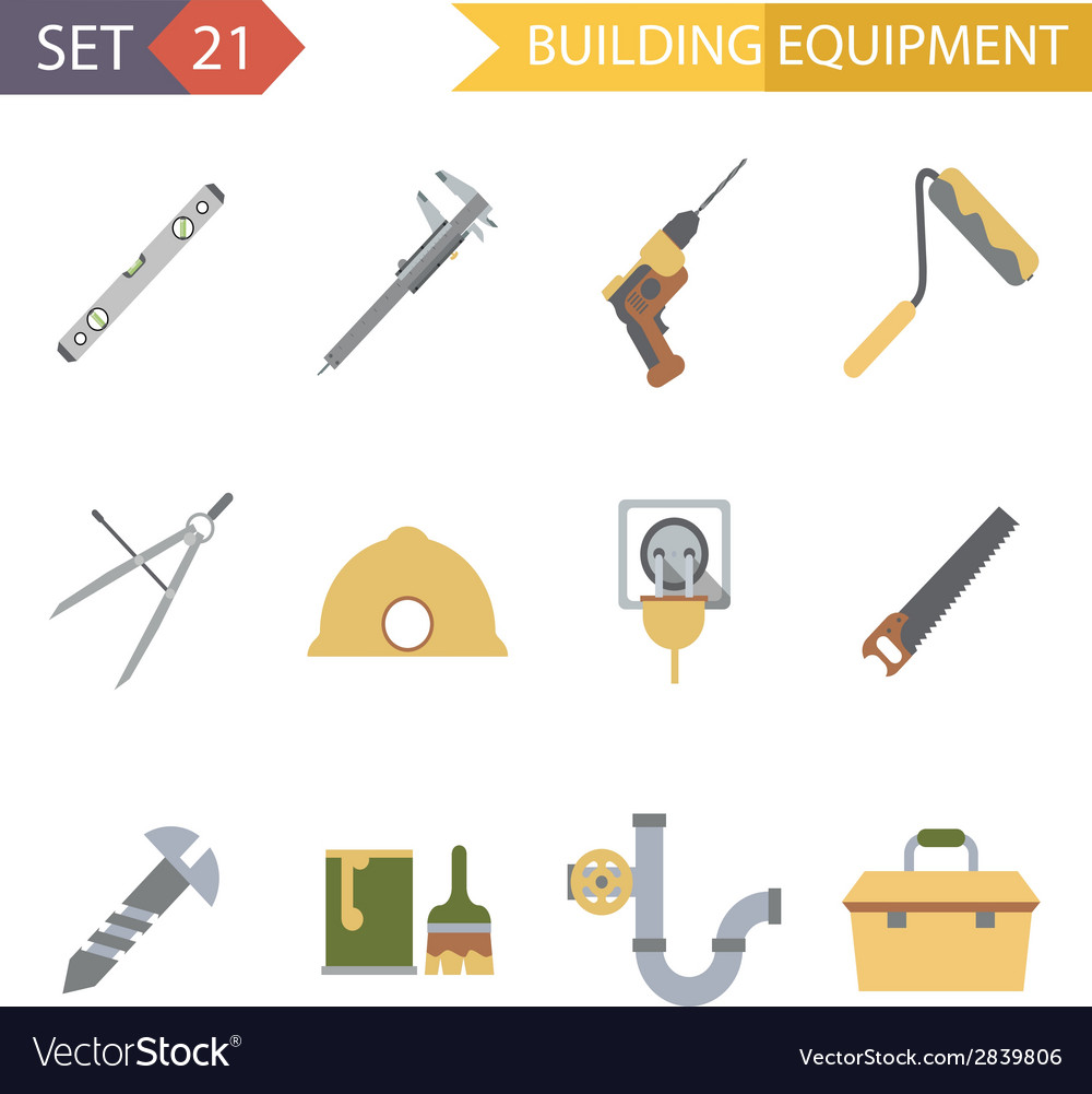 Retro Flat Building Equipment Icons and vector image