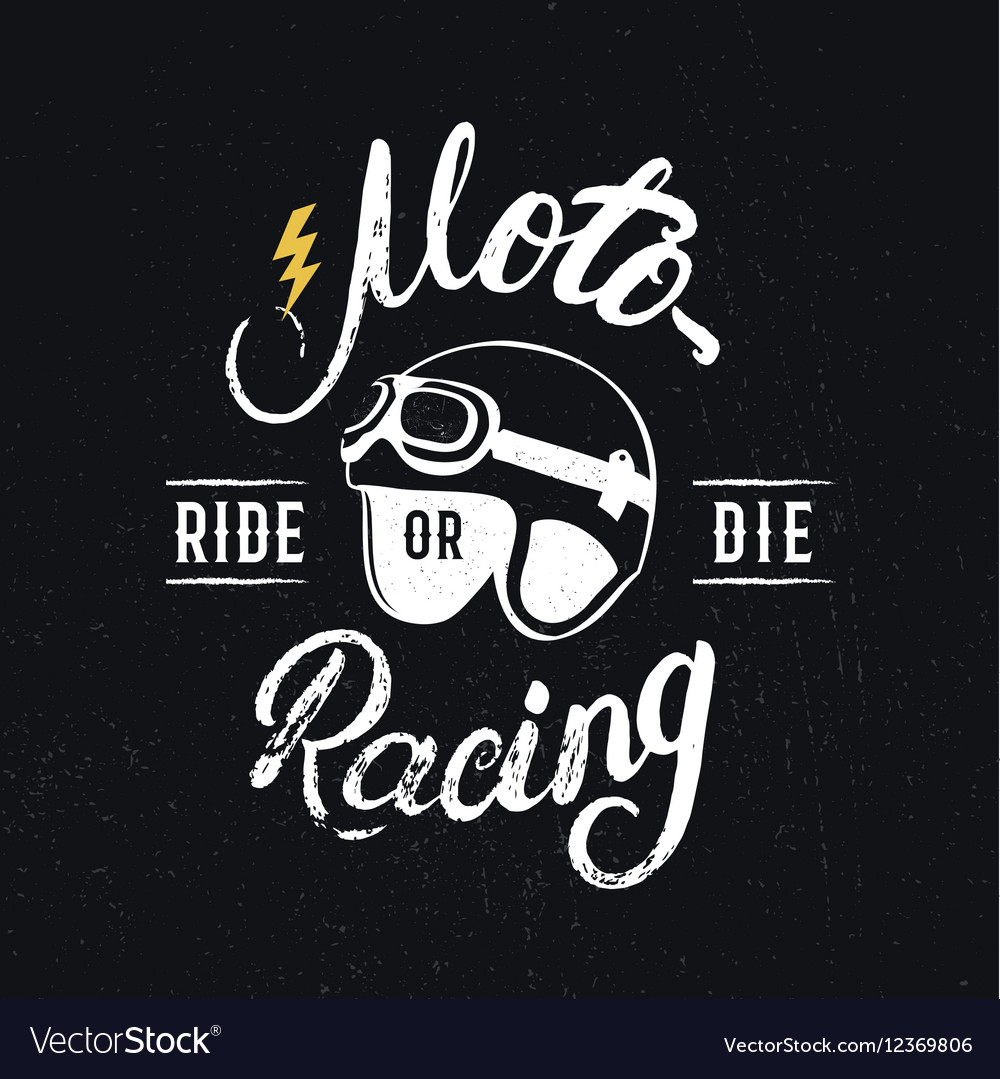 Retro racer helmet and motoracing hand written
