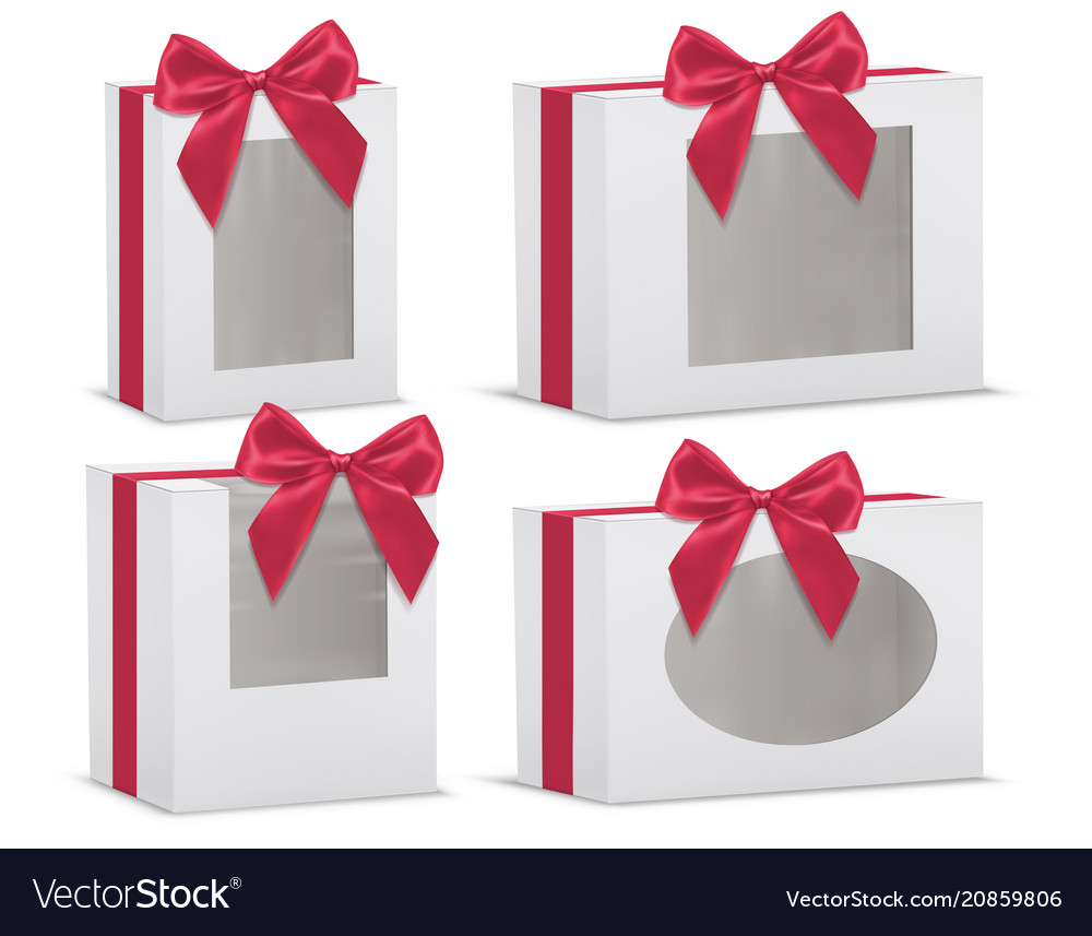 Set of empty gift boxes with red silk bows
