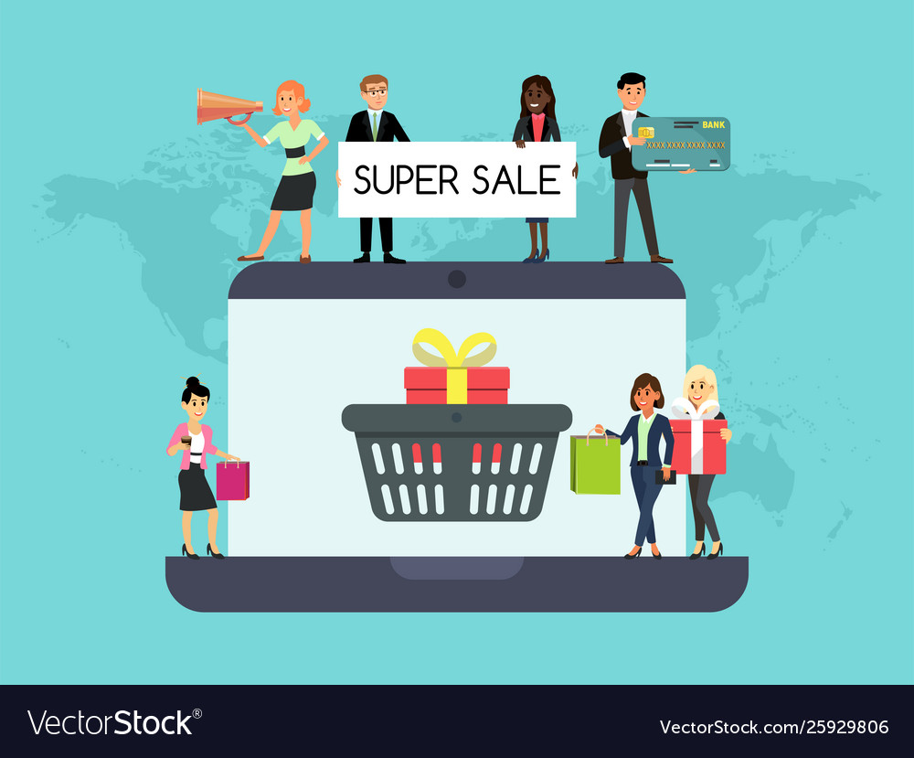 Shopping people on laptop online website