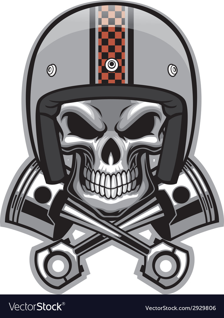 77bd06416bc4e Skull and crossed piston Royalty Free Vector Image