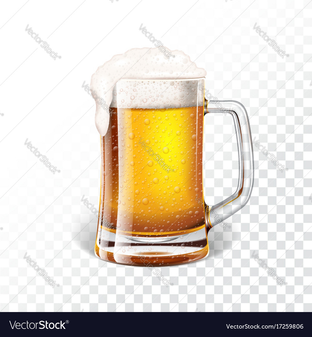 With fresh lager beer in a beer mug