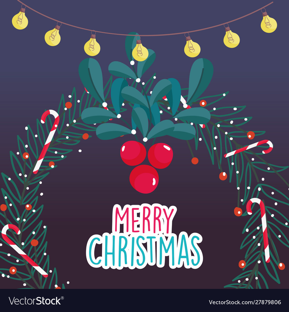 Wreath berries candy cane lights merry christmas