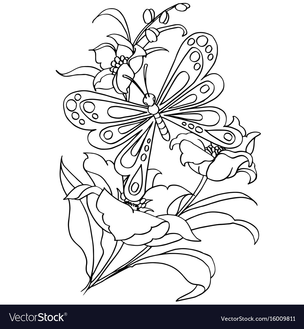 Butterfly And Flower Cartoon Coloring Page Vector Image