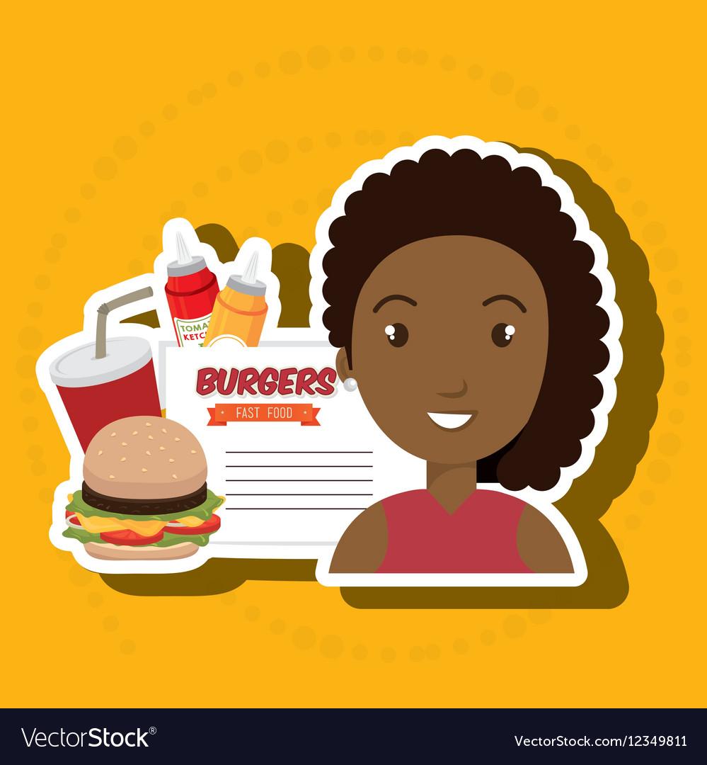 Child cartoon girl fast food