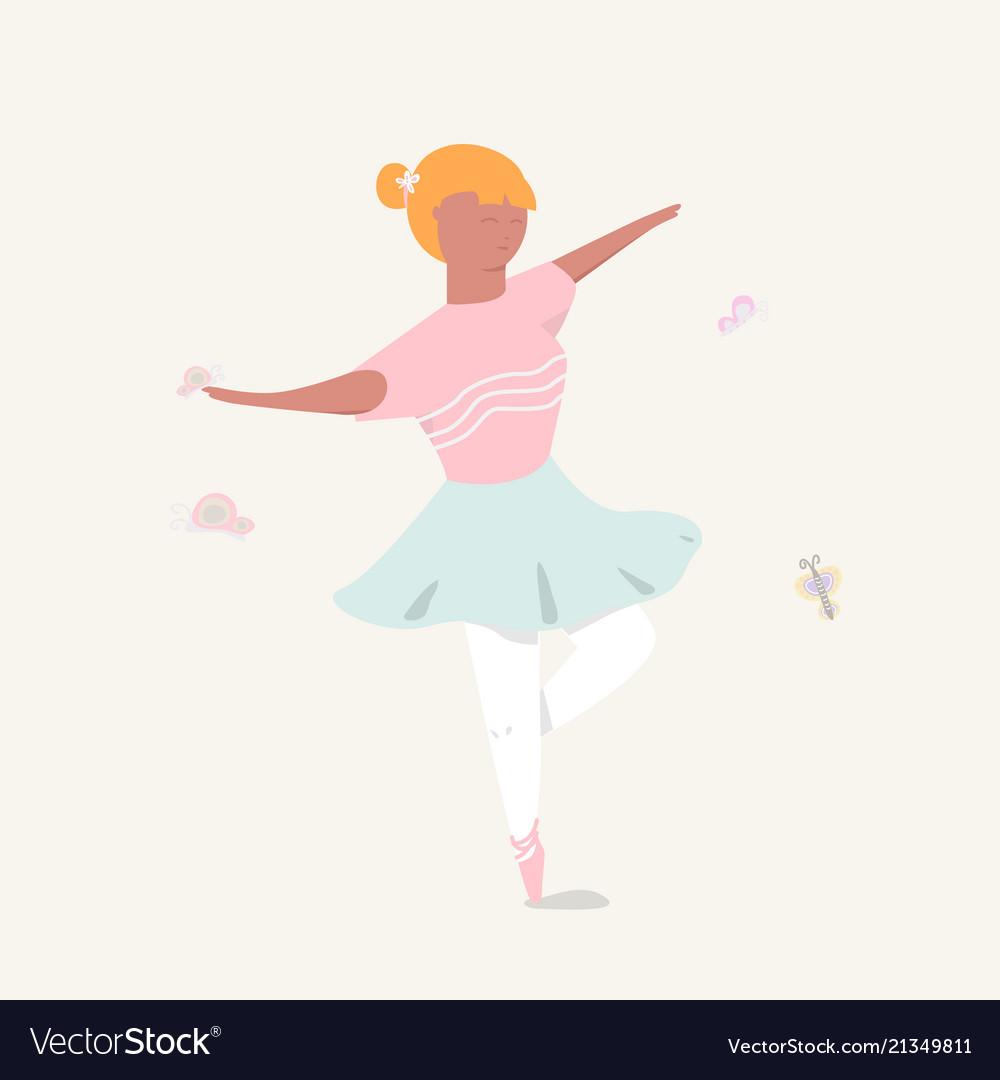 Cute girl ballerina dancing