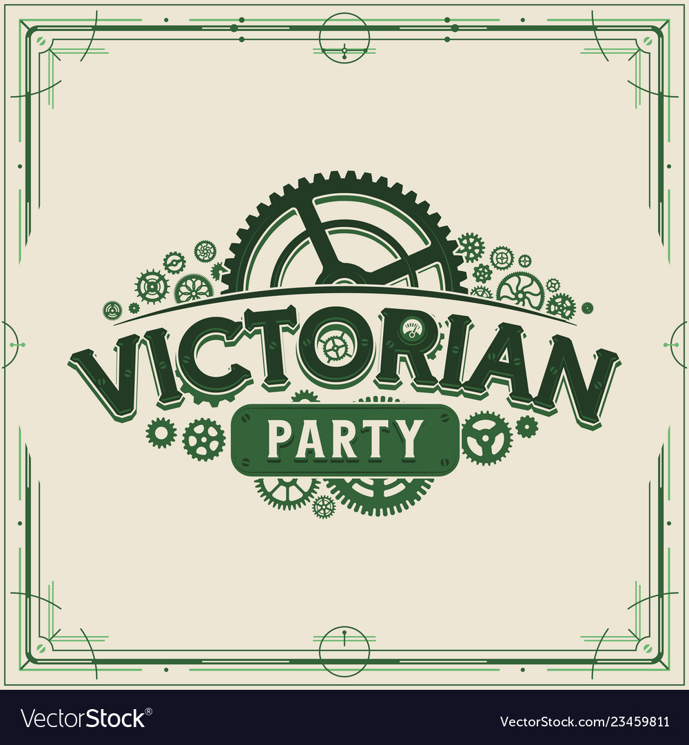 Green steampunk party logotype design victorian