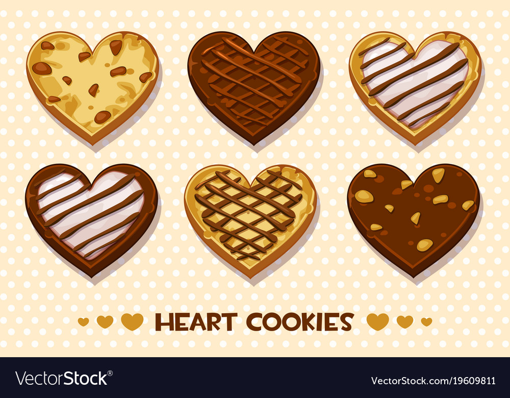 Heart shaped gingerbread and chocolate cookies