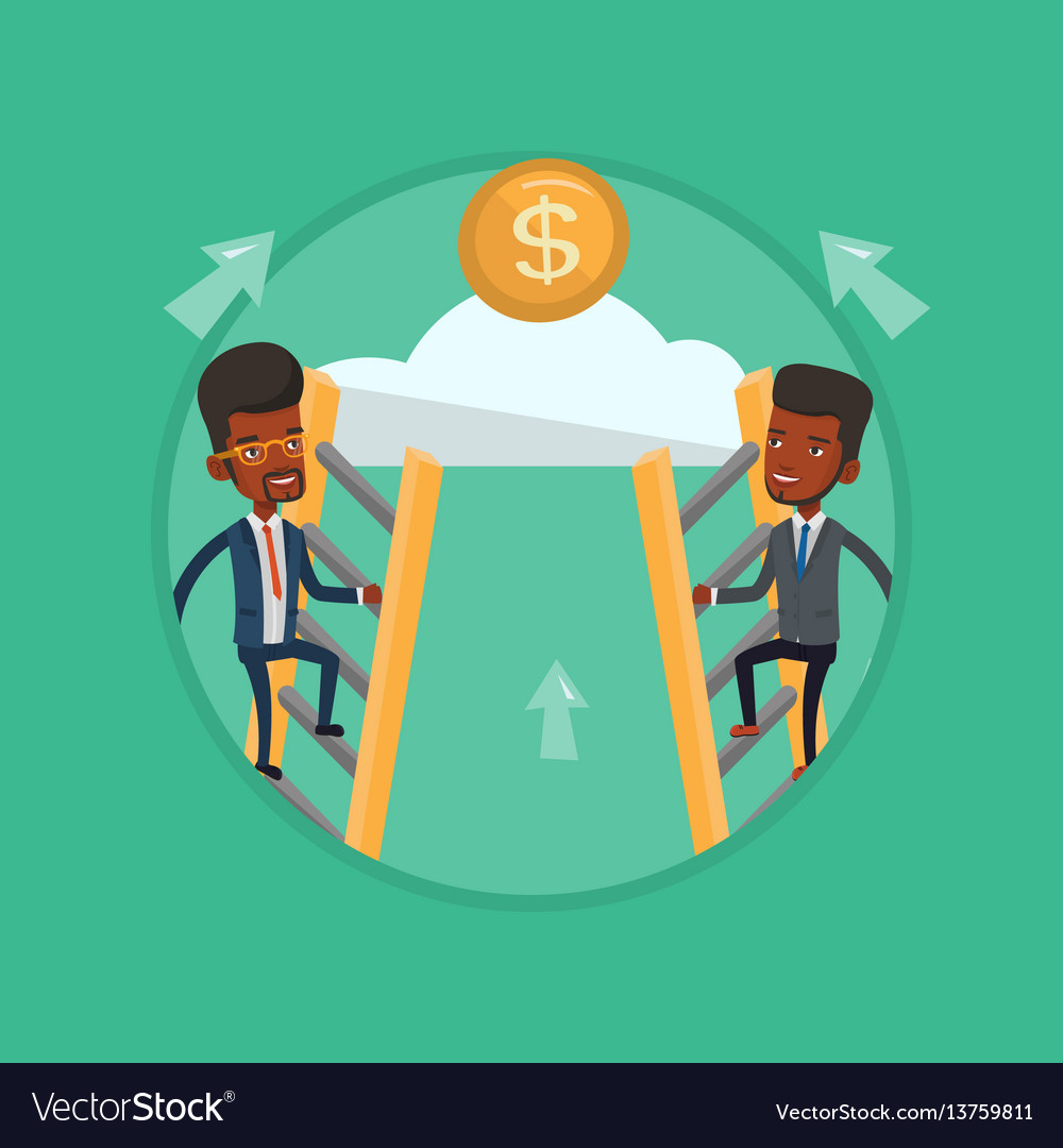 Two businessman climbing to success