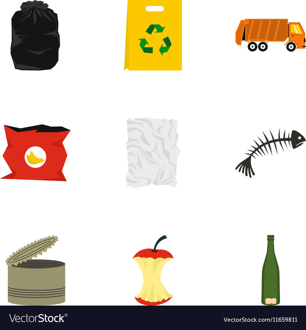 Types of waste icons set flat style
