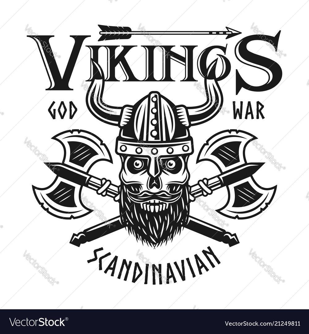 Vikings emblem or t-shirt print with bearded skull